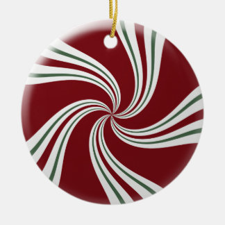 Red Green and White Peppermint Candy Ceramic Ornament