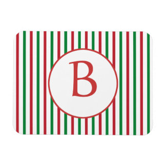 Red, Green and White Stripes with Monogram Rectangular Photo Magnet