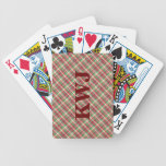 Red Green and White Tartan Plaid Pattern Card Deck