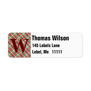 red green and white tartan plaid pattern label