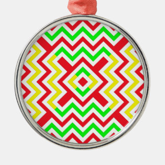 Red, Green and Yellow Chevron Pattern Metal Ornament