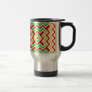 Red, Green and Yellow Chevron Pattern Mugs