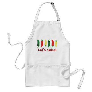 Red Green and Yellow Hot Salsa Chili Peppers Adult Apron