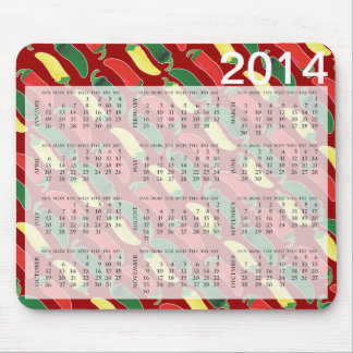 Red Green and Yellow Hot Salsa Chili Peppers Mouse Pad