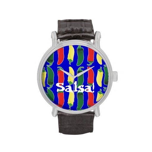 Red Green and Yellow Hot Salsa Chili Peppers Wristwatch