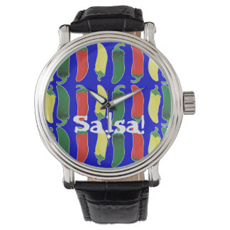 Red Green and Yellow Hot Salsa Chili Peppers Watch
