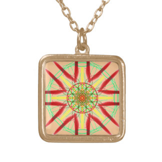 Red, Green and Yellow Mandala Necklace