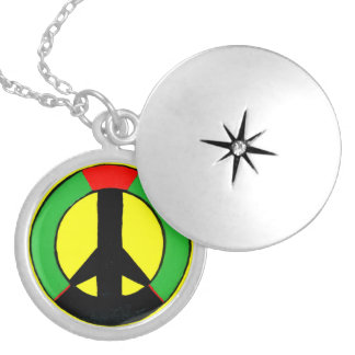 Red green and yellow Peace Sign Round Locket Necklace