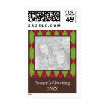 Red green argyle photo Christmas holiday stamp