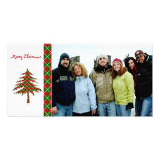 Red & Green Argyle Tree  Merry Christmas Card