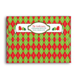 Red Green Argyle Ugly Christmas Sweater Party Xmas Envelope