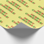 """[ Thumbnail: Red & Green Art Deco Style """"Merry Christmas!"""" Wrapping Paper ]"""