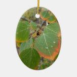 red green aspen leaf ceramic ornament