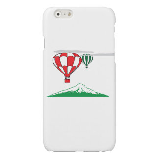 Red green balloons with a green mountain glossy iPhone 6 case