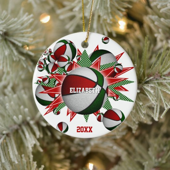 red green basketball blowout commemorative sports ceramic ornament