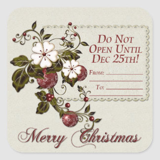 Red Green Berries Do Not Open Until Christmas Square Sticker