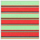 [ Thumbnail: Red, Green & Black Colored Stripes Fabric ]