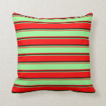 [ Thumbnail: Red, Green & Black Colored Stripes Throw Pillow ]