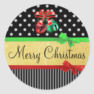 Red Green Black Gold Merry Christmas Bows Stickers
