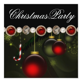 Red Green Black Gold OrnamentsChristmas Party Invitation