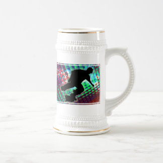 Red Green & Blue Abstract Boxes  Skateboard Beer Stein