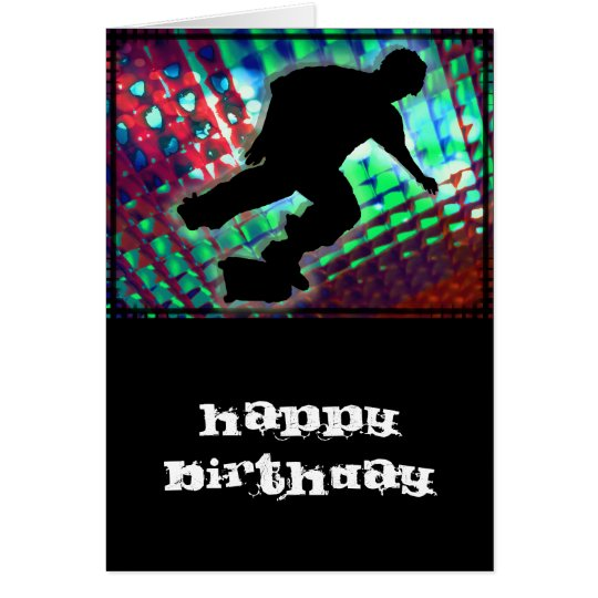 Red Green & Blue Abstract Boxes  Skateboard Card