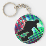 Red Green & Blue Abstract Boxes  Skateboard Key Chain