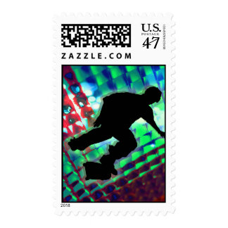 Red Green & Blue Abstract Boxes  Skateboard Postage