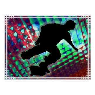 Red Green & Blue Abstract Boxes  Skateboard Print