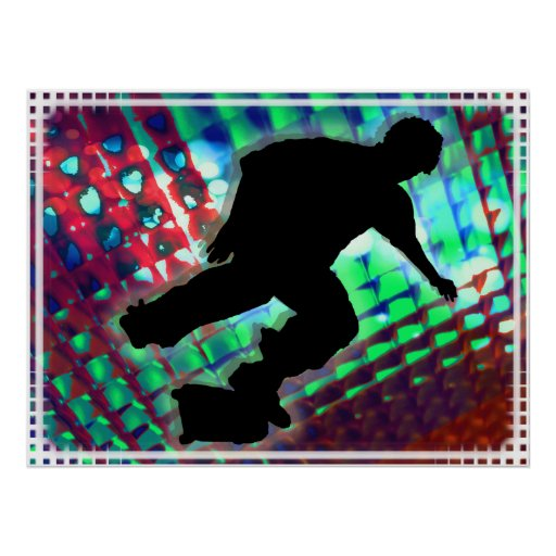 Red Green & Blue Abstract Boxes  Skateboard Poster