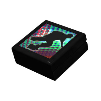 Red Green & Blue Abstract Boxes Skateboarder