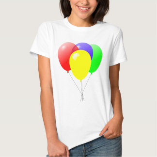 Red Green Blue and Yellow Balloons Design T Shirt