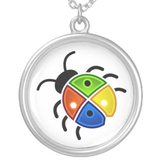 Red Green Blue and Yellow Ladybug Round Pendant Necklace