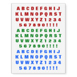 [ Thumbnail: Red, Green, Blue Bold Alphabet Characters Temporary Tattoos ]