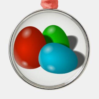 Red Green Blue Easter Eggs Christmas Ornaments