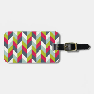 Red Green Blue Gray Herringbone Chevron Pattern Tags For Bags