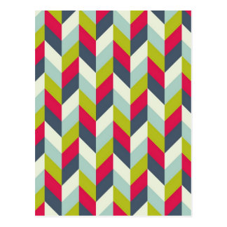 Red Green Blue Gray Herringbone Chevron Pattern Postcard