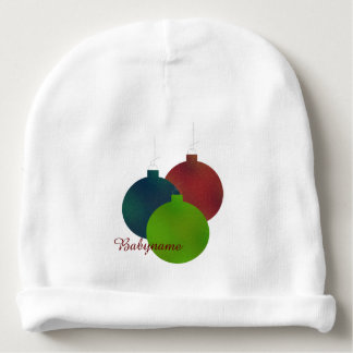 Red, Green & Blue Holiday Ornaments Personalized Baby Beanie