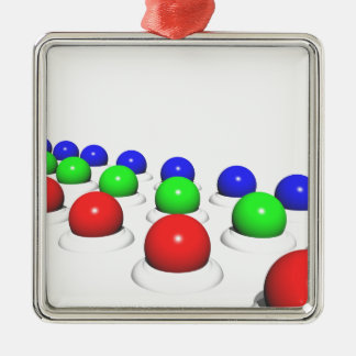 Red Green Blue Spheres Square Metal Christmas Ornament