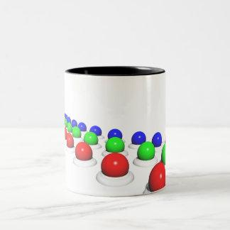 Red Green Blue Spheres Two-Tone Coffee Mug