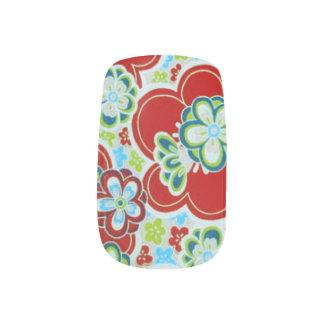 Red, Green, Blue & White Flowers Minx® Nail Art