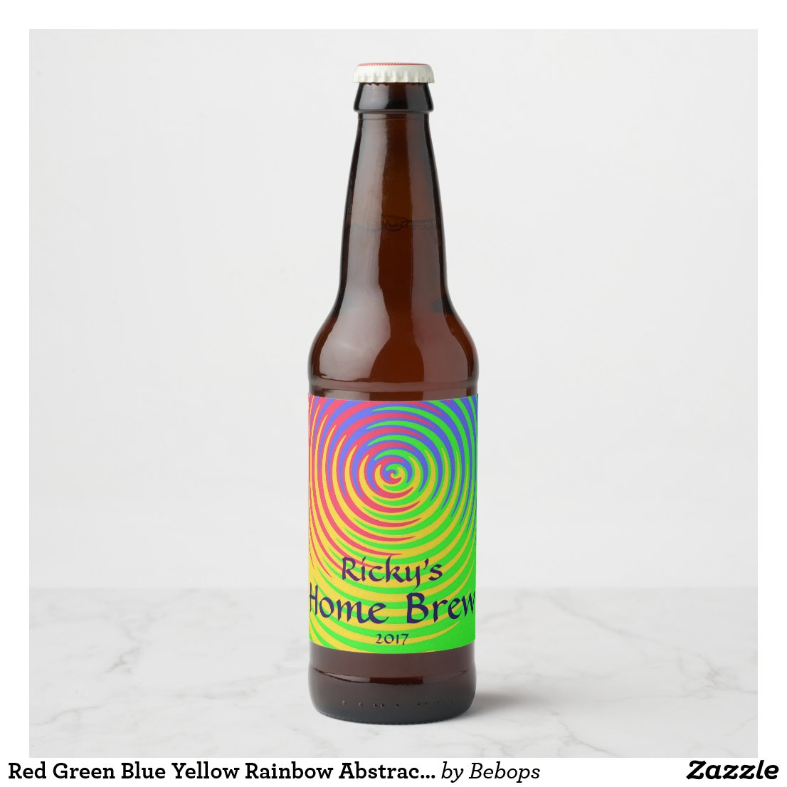 Red Green Blue Yellow Rainbow Abstract Beer Label