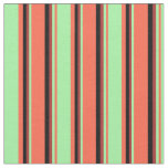 [ Thumbnail: Red, Green, Brown & Black Striped/Lined Pattern Fabric ]