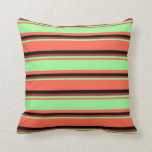 [ Thumbnail: Red, Green, Brown & Black Striped/Lined Pattern Throw Pillow ]