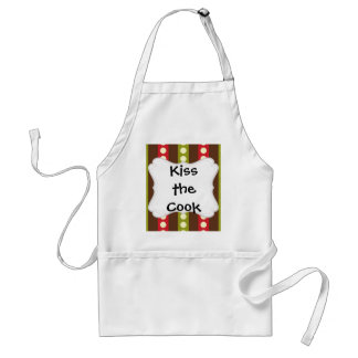 Red Green Brown Polka Dots in Stripes Adult Apron