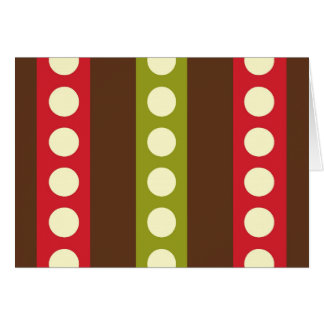 Red Green Brown Polka Dots in Stripes Stationery Note Card