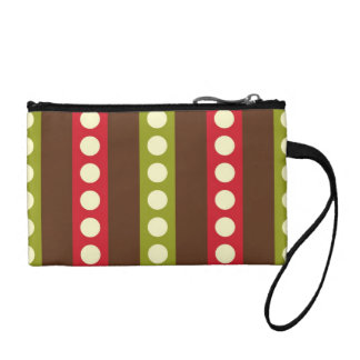 Red Green Brown Polka Dots in Stripes Coin Wallet
