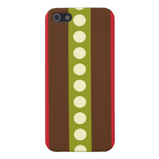 Red Green Brown Polka Dots in Stripes Cover For iPhone SE/5/5s