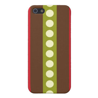 Red Green Brown Polka Dots in Stripes Covers For iPhone 5