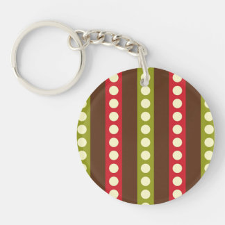 Red Green Brown Polka Dots in Stripes Keychain